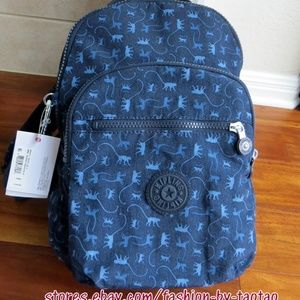 Kipling Seoul Small Backpack Monkey Mania Blue